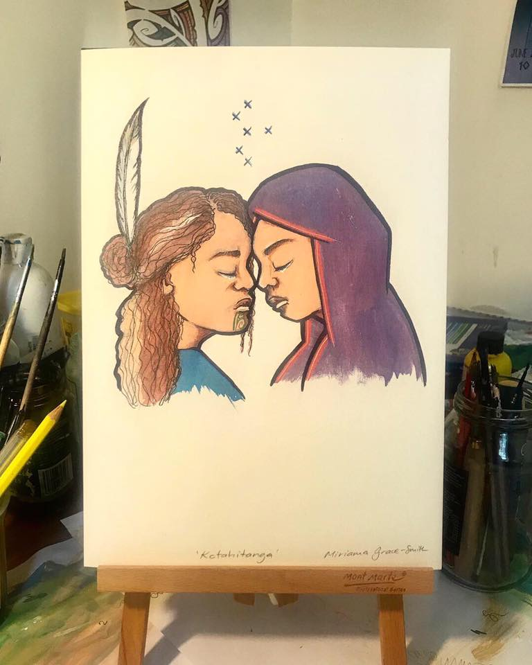 Artwork by Mirama Grace-Smith made after the Christchurch shootings, 2019. The print shows a Māori young woman with a moko kauae (traditional tattoo) and feather in her hair giving a hongi (traditional greeting) to a Muslim woman wearing a purple hijab. Both have the eyes closed and tears are about to fall.